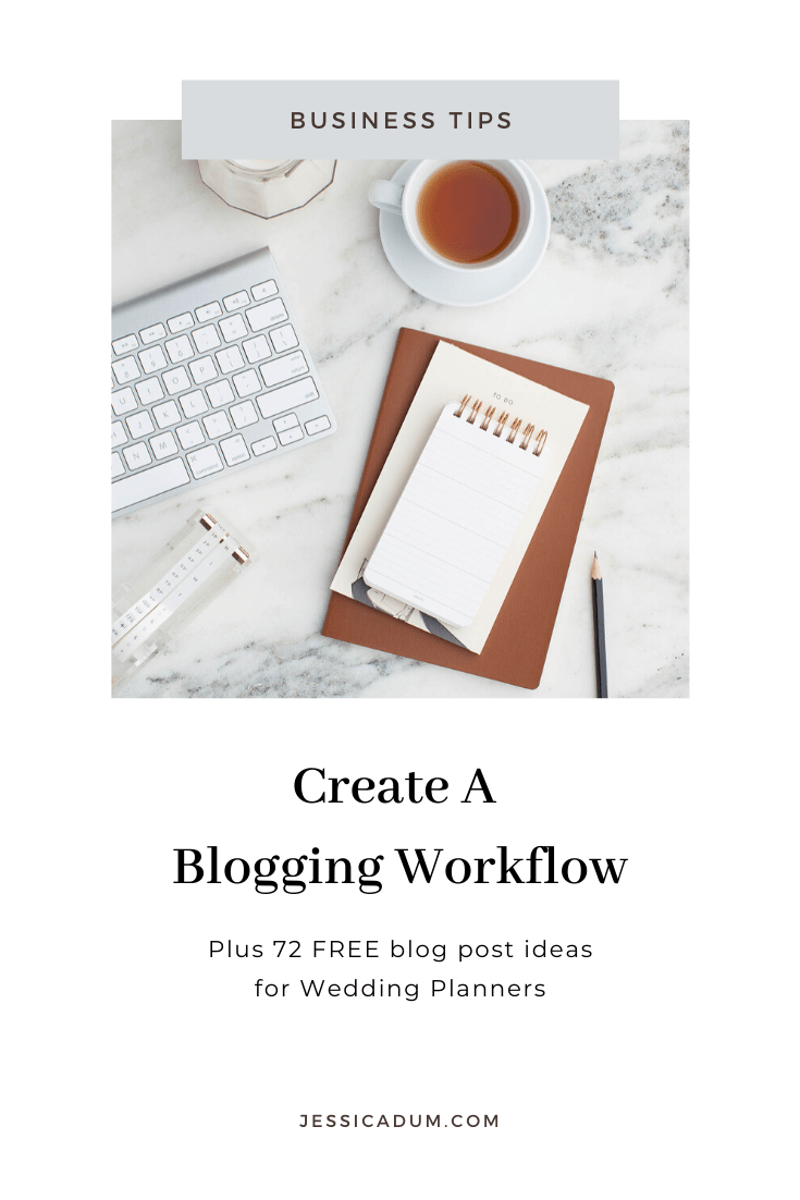 Over the years, I've created a tried-and-true blogging workflow that I follow every time I sit down to write a new blog post. From selecting blog topic ideas to scheduling and sharing the blog post itself. And I want to help YOU establish a blogging workflow too so that you can reach more ideal clients and share your wealth of knowledge with the world! Plus, I've created a free list of 72 blog post ideas for wedding planners that you can snag here! #bloggingworkflow #growyourblog