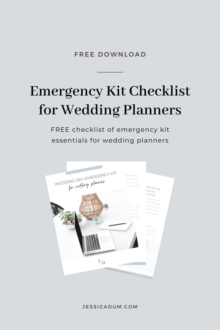 The ultimate wedding day emergency kit checklist for wedding planners. Grab our free checklist with over 60 products you need in your emergency kit come wedding day!