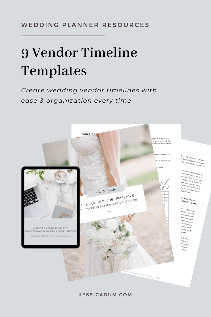 Snag my Vendor Timeline Templates for Wedding Planners. Get the exact timeline templates I use for quickly and easily creating vendor timelines for my wedding clients every time. Save time in your wedding planning business by implementing a vendor timeline template that will impress not only your clients but their vendors too - or snag the exact one-page timeline templates my team and I use for every wedding that get rave reviews from wedding vendors and clients time and time again! | Wedding Planner Resources
