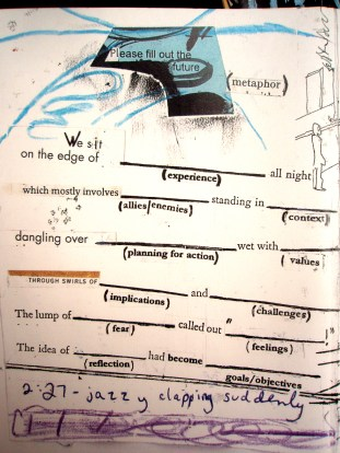 """""""please fill out the future metaphor"""" collage, pen, pencil on paper. detail from """"open confusion"""" zine, 2008."""