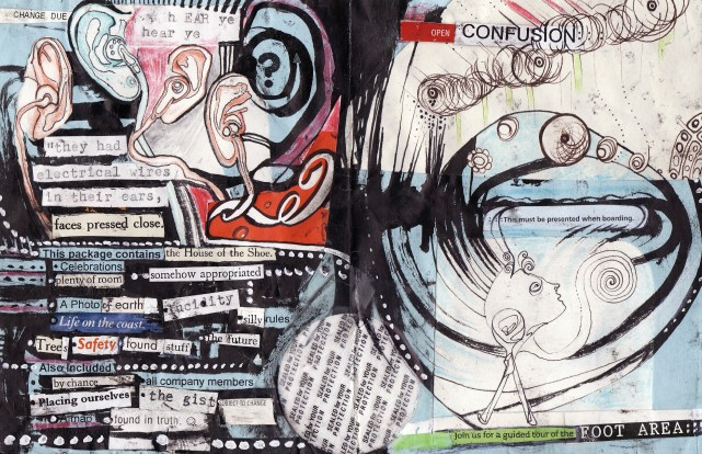 """""""hear ye hear ye"""" collage, pen, pencil on paper. cover page from """"open confusion"""" zine, 2008."""
