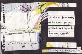"""plants as teachers"" collage, pen, pencil on paper. detail from ""open confusion"" zine, 2008. Jessica Gabriel."