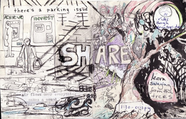 """""""share"""" collage, pen, pencil on paper. detail from """"open confusion"""" zine, 2008.Jessica Gabriel."""