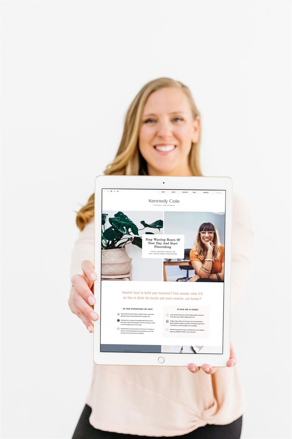 iPad mockup of showit website template for virtual assistants by Jessica Gingrich