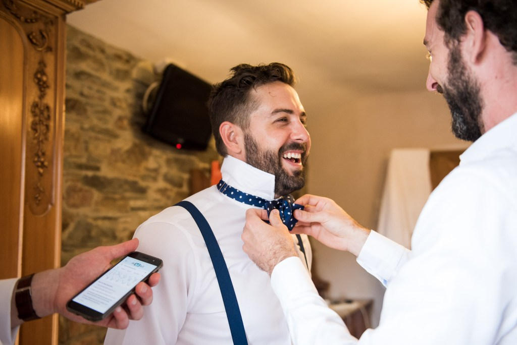 Groom with best man pre wedding photography Cornwall