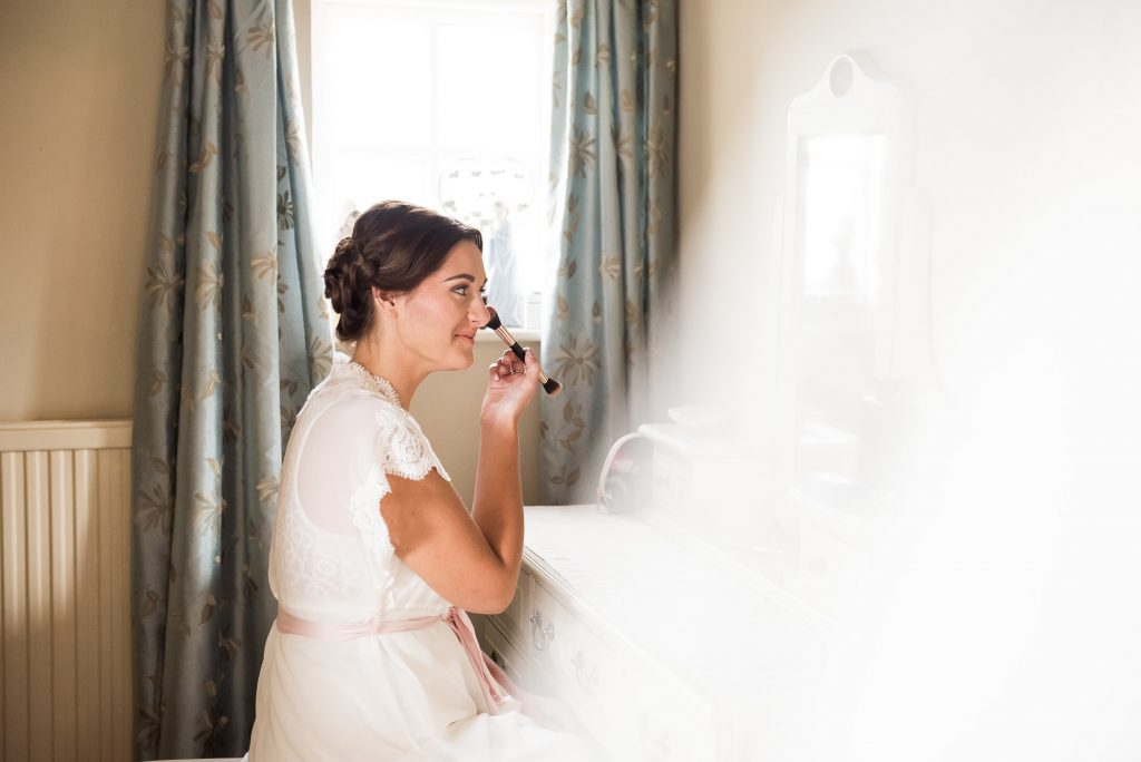 Jay West Bride with hair and make up by Amanda Steed pre wedding prep