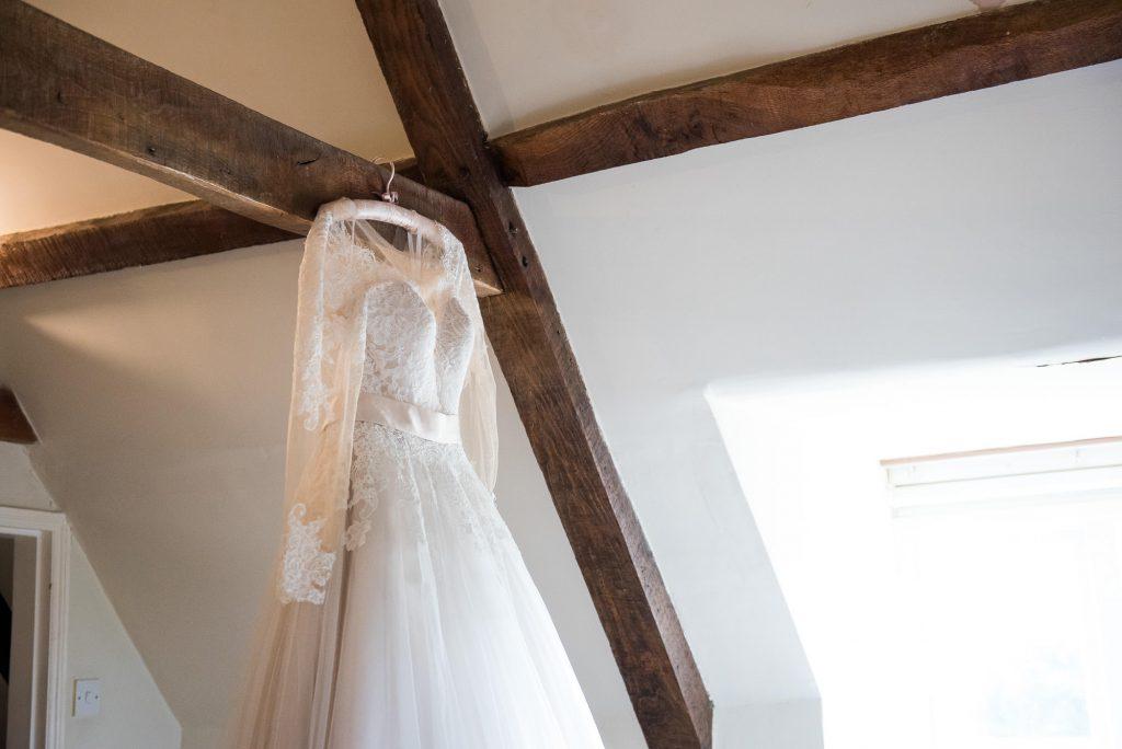 Hanging Jay West Bridal dress Norfolk Barn Wedding