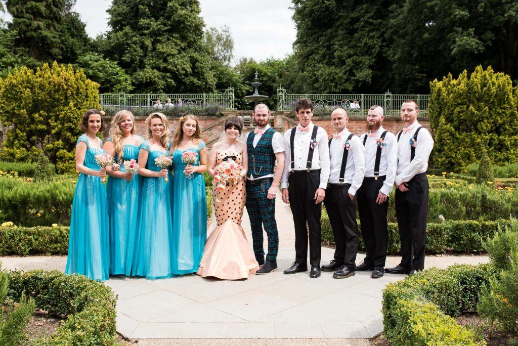 Whirling Turban bride with tartan dressed groom group wedding portrait Berkshire