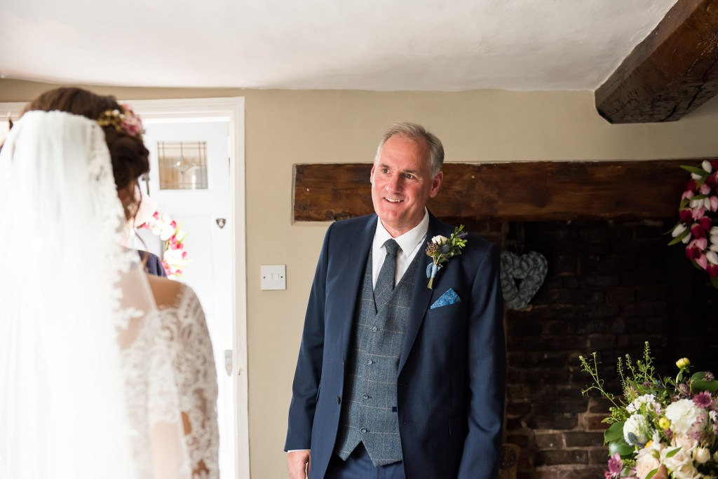 Father sees bride pre wedding photography Norfolk
