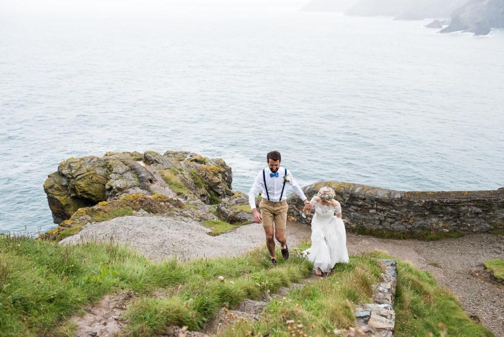Natural beach wedding portrait Cornwall