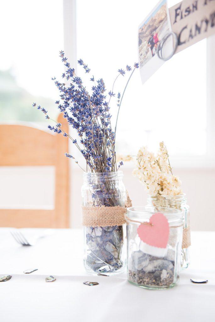 Rustic wedding table decor Cornwall