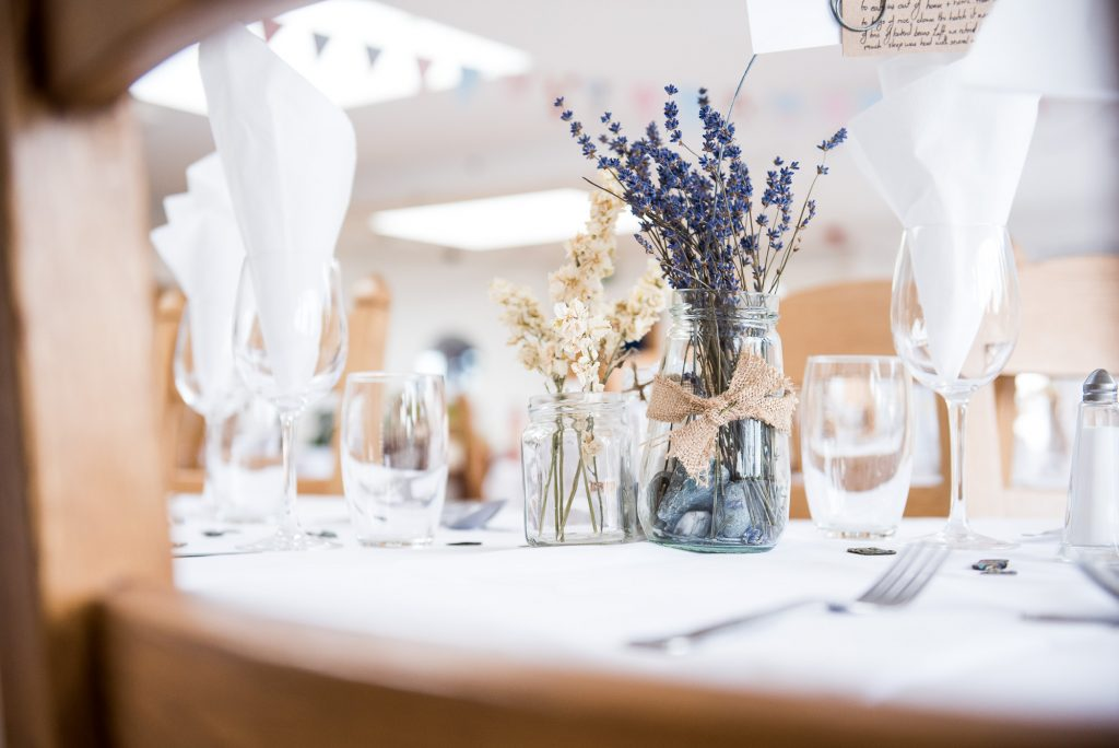 Rustic lavender wedding table decor Cornwall