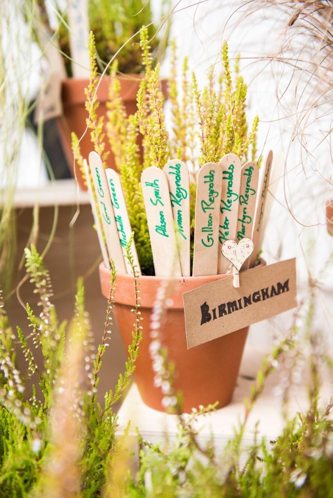 Birmingham labelled flower pot rustic wedding table decor Driftwood Spars Wedding