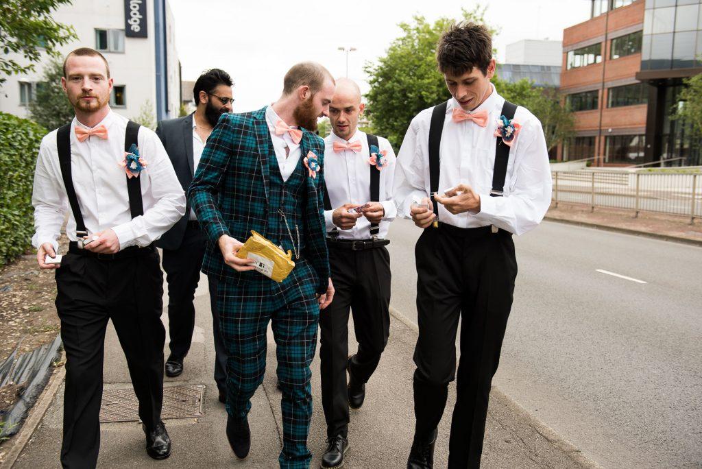 Creative pre wedding photography groom with groomsmen Berkshire