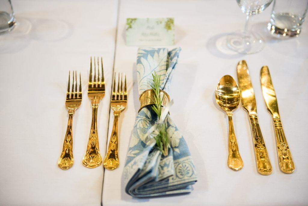 Gold cutlery Norfolk Barn wedding