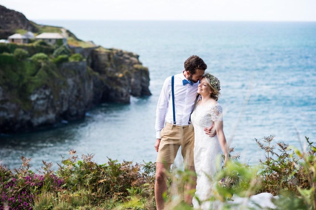 Beautiful beach boho wedding portrait St Agnes Cornwall