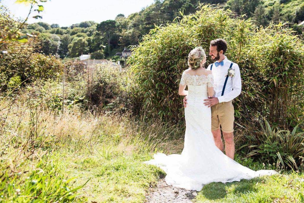 Natural boho wedding portrait Cornwall