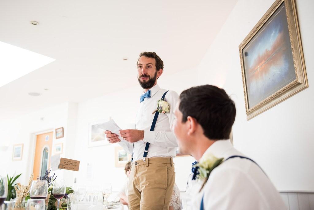 Groom delivers speech Cornwall wedding