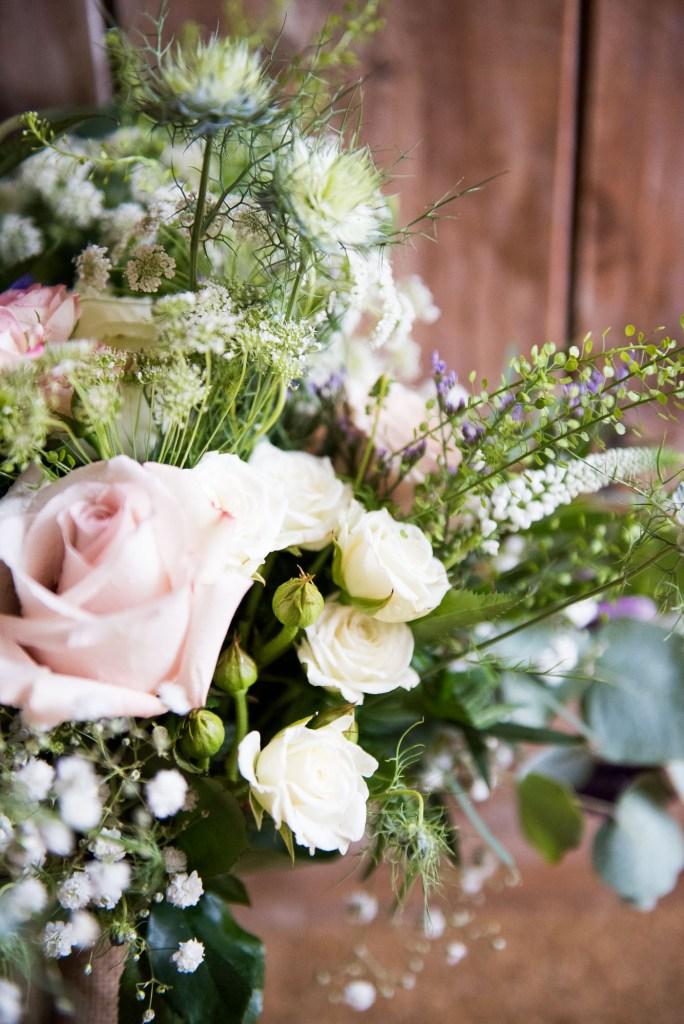 Pastel rustic wedding bouquet by Flowershed Trebilocks Flowers Driftwood Spars Wedding