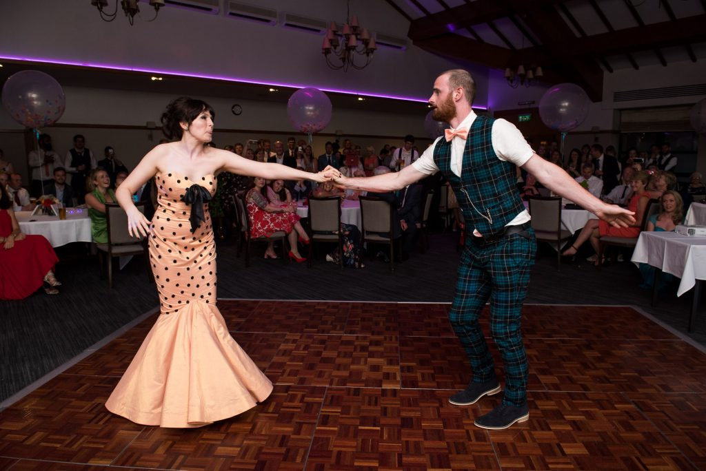 First dance for alternative bride wearing Whirling Turban with punk groom Berkshire