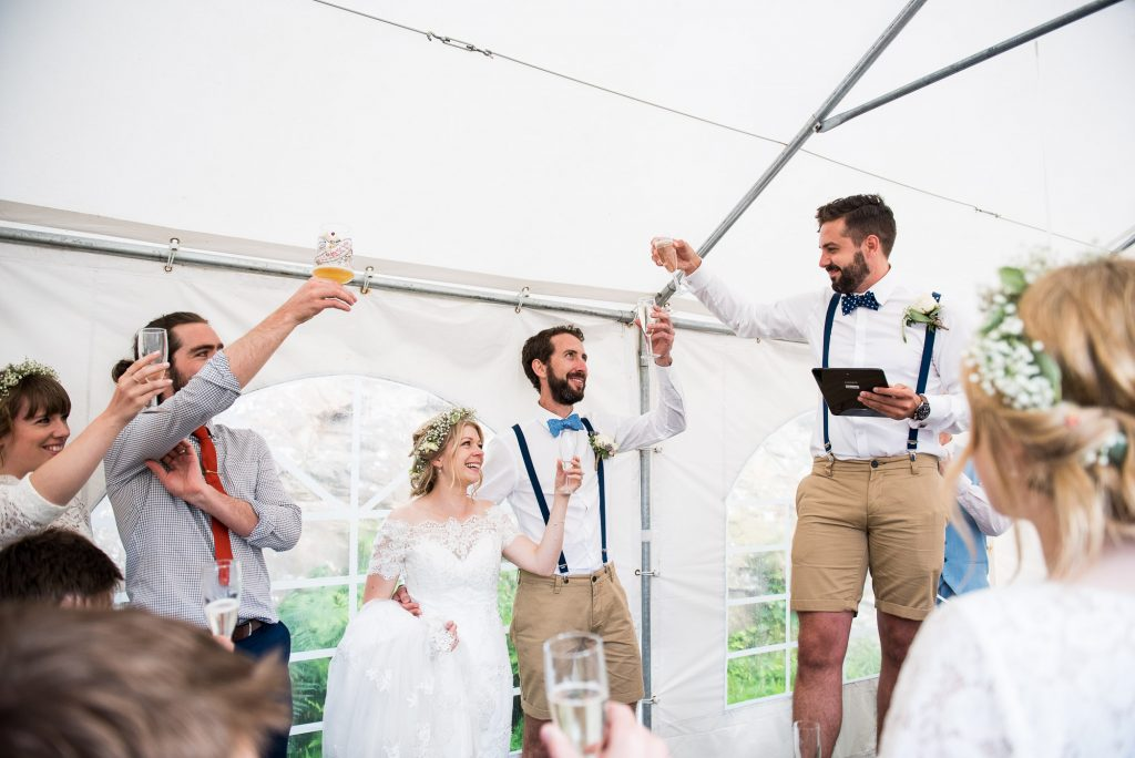Champagne toast during wedding speeches Cornwall