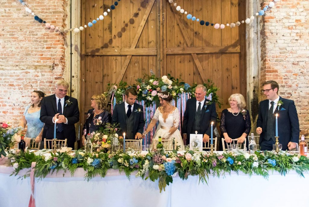 Floral wedding decor by Flowers at The Forge Norfolk barn wedding Norfolk
