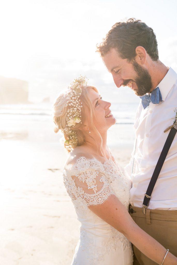 Beautiful golden hour wedding portrait Cornwall