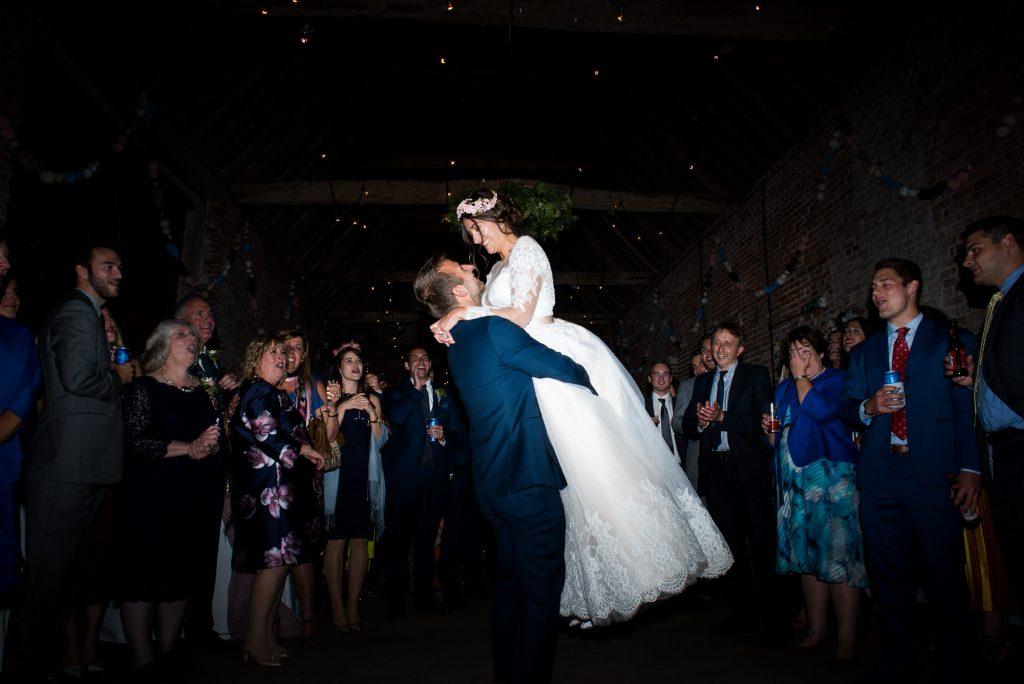 First dance Jay West Bride with Calvin Klein groom Norfolk Barn wedding