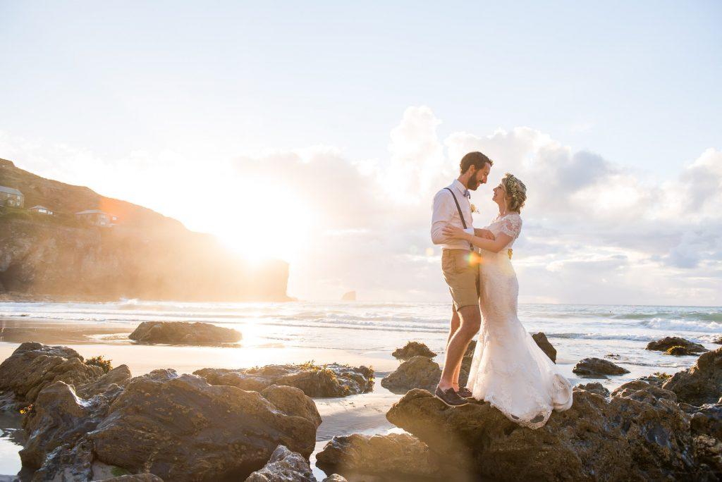 Beach wedding portrait during golden hour Cornwall