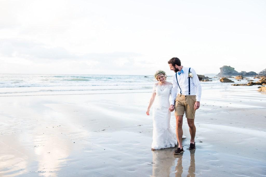 Romantic beach wedding portrait Driftwood Spars Wedding