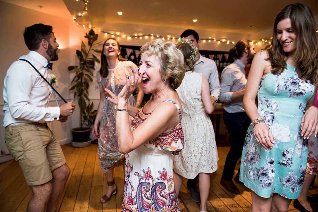 Wedding guests dance Cornwall