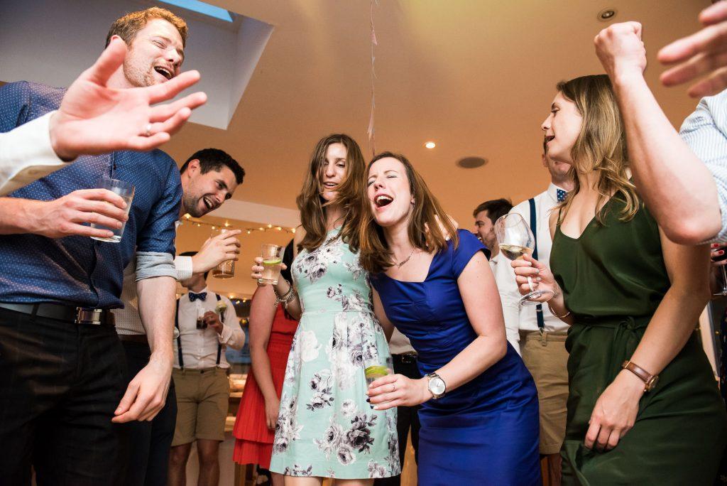 Wedding guests singing Cornwall