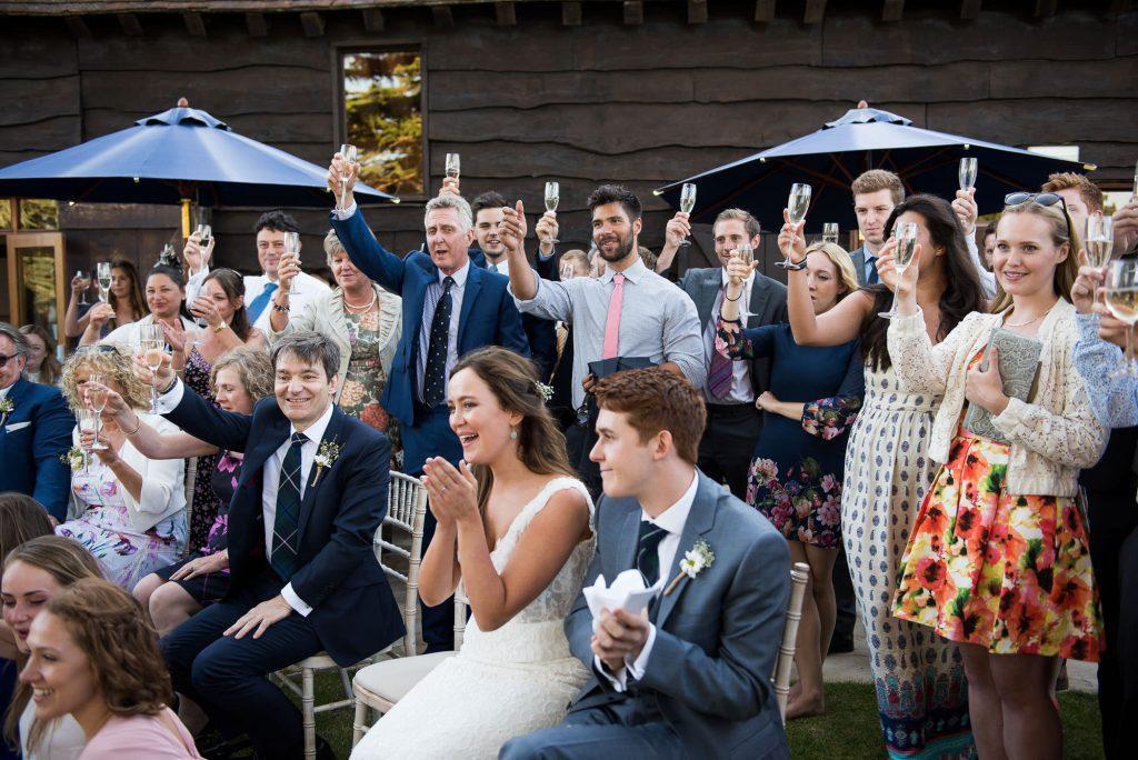Champagne wedding toast Surrey wedding