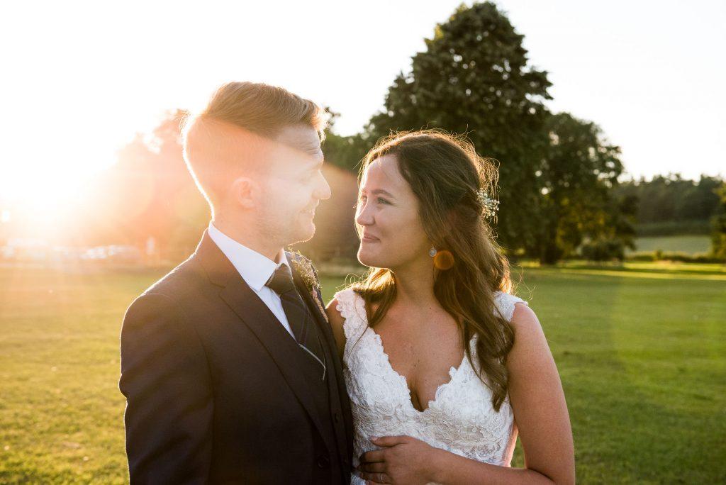 Golden hour wedding portrait Surrey