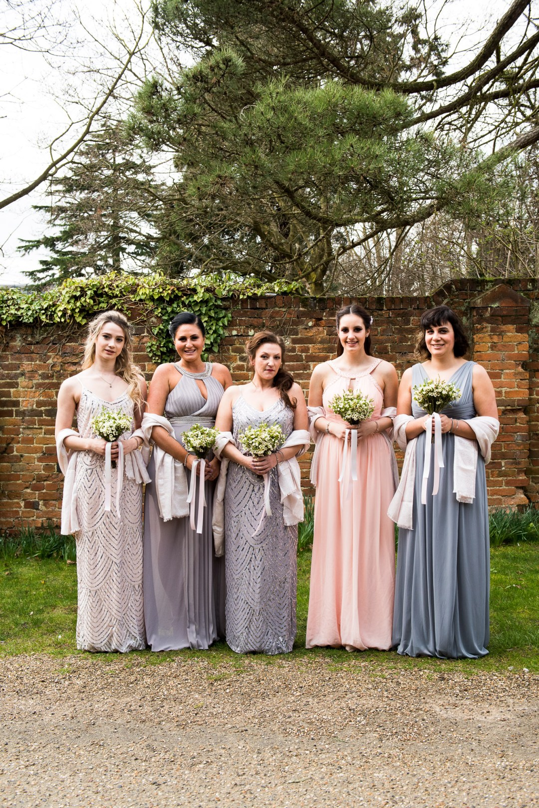 Gorgeous blush pink inspired mix-matched bridesmaid dresses