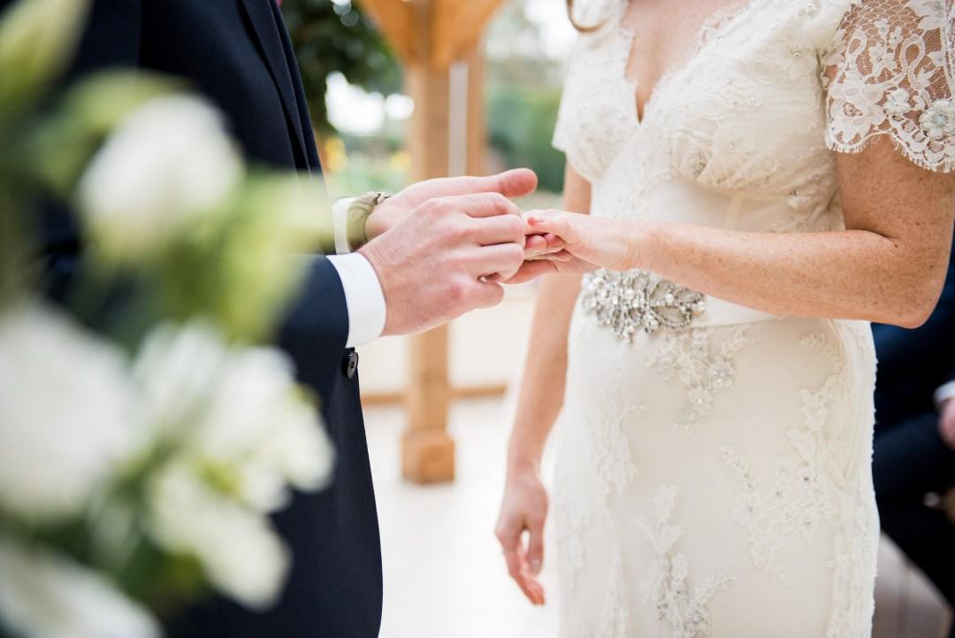 ring exchange during vows, Gaynes Park Wedding