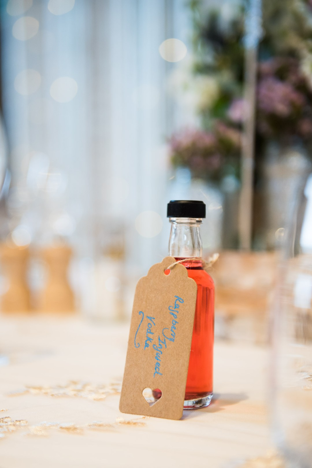 DIY wedding favour of infused vodka bottles
