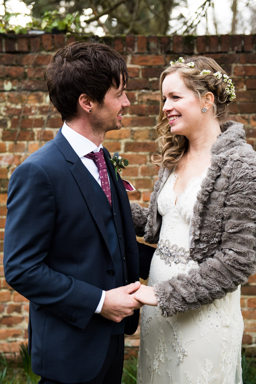 smiling boho bride essex barn wedding
