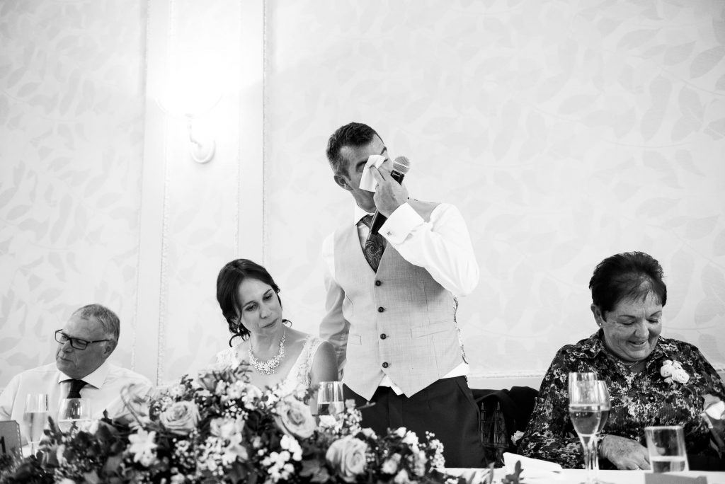 Emotional captured reaction Surrey wedding