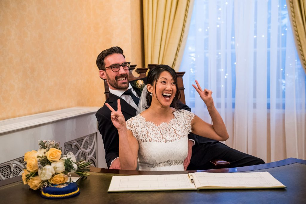 Relaxed and fun wedding portraits London