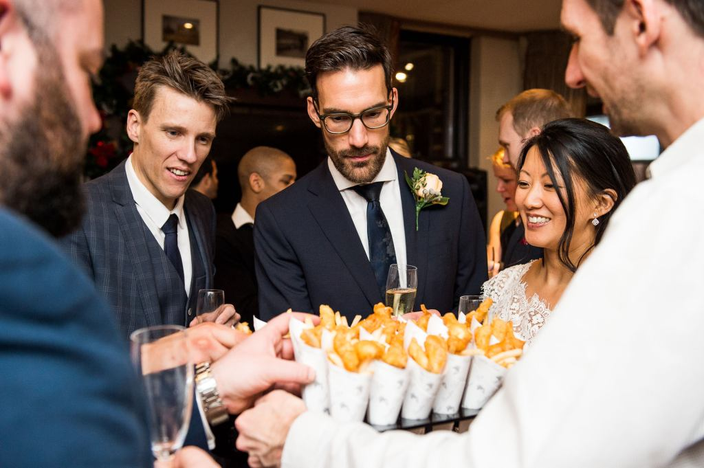 Fish and chip canapés for London wedding reception
