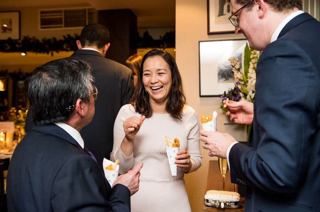 Candid moments during drinks reception London wedding