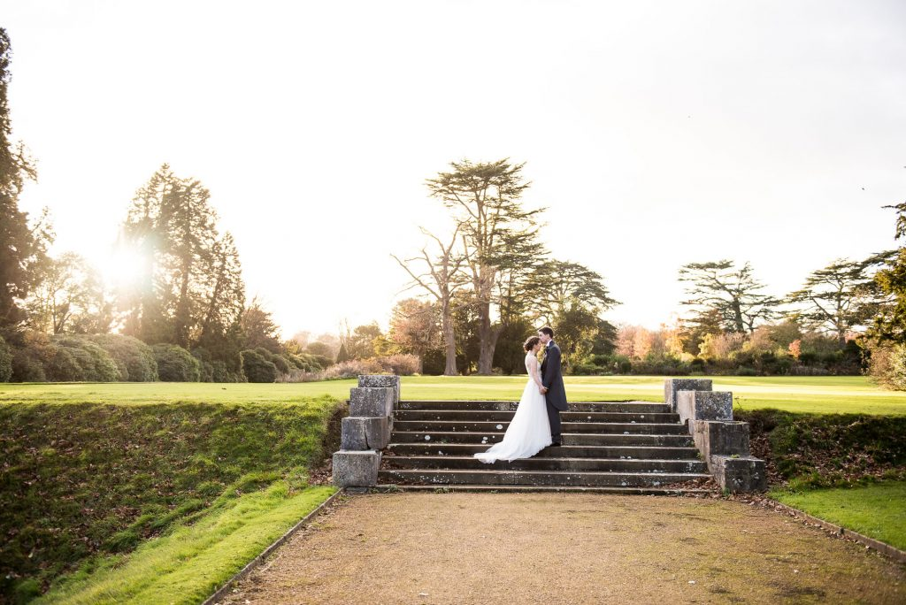 Ashridge House Wedding. Natural Wedding Photography. Bride and Groom evening light portrait.