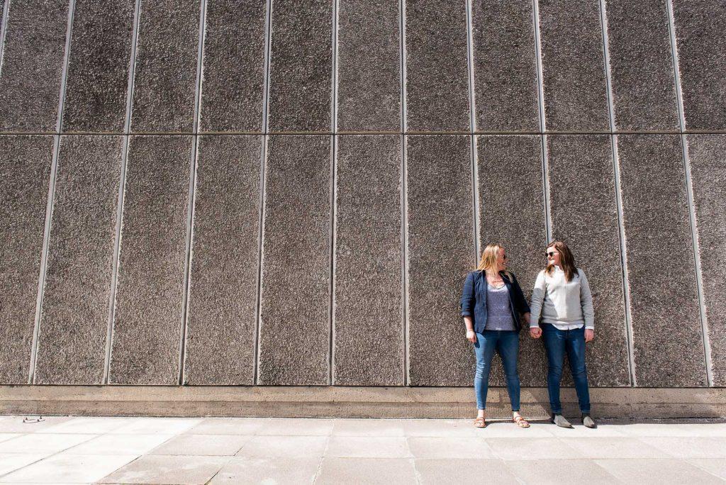 Southbank Engagement shoot, LGBT Engagement Shoot Photography, styled couples portrait against industrial concrete background