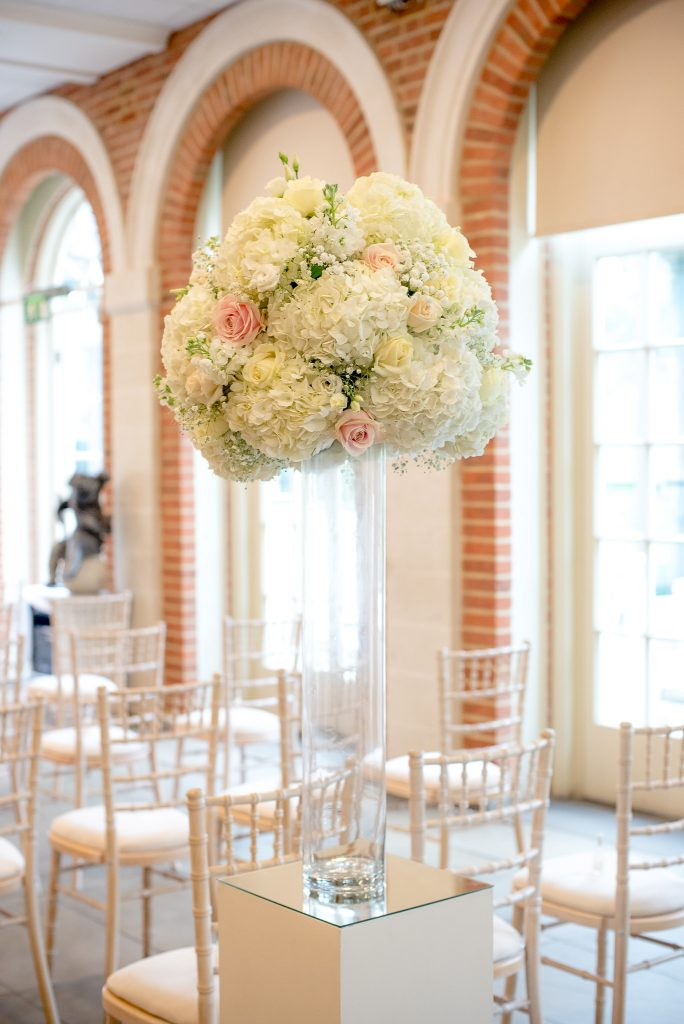Great Fosters. White and Rose Pink Wedding Flowers by The Fine Flower Company, Surrey.