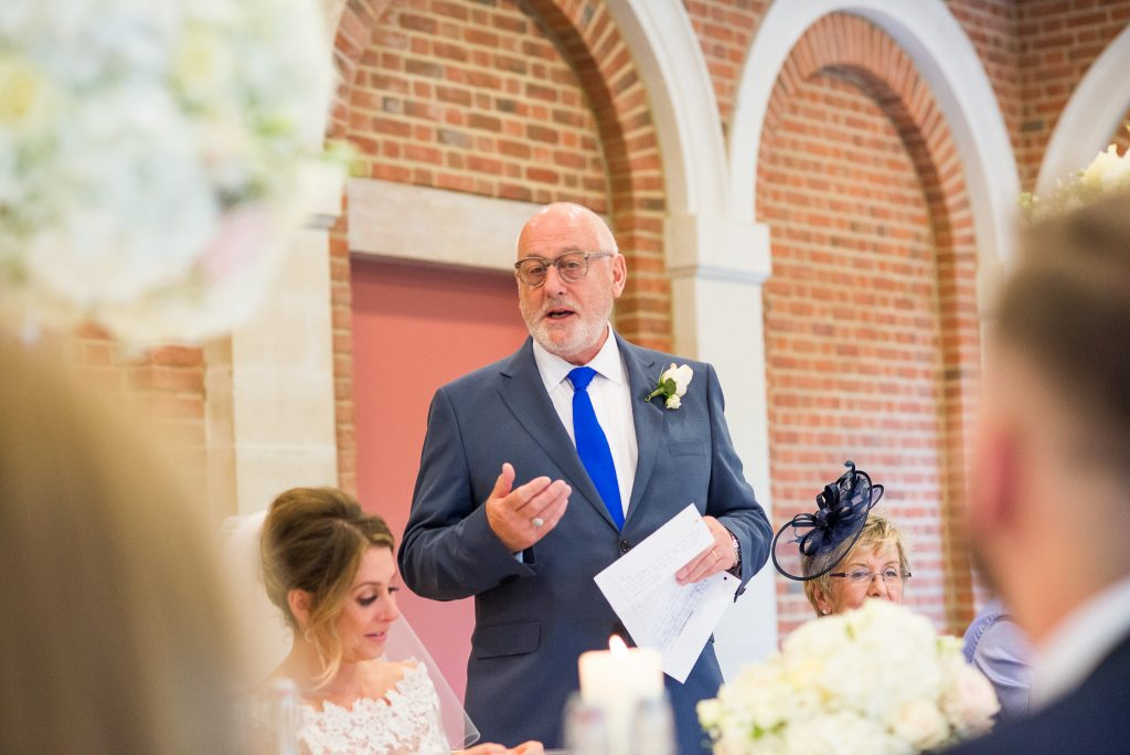 Great Fosters. Natural Documentary Wedding Photography, Surrey. Father of the Bride Speech.