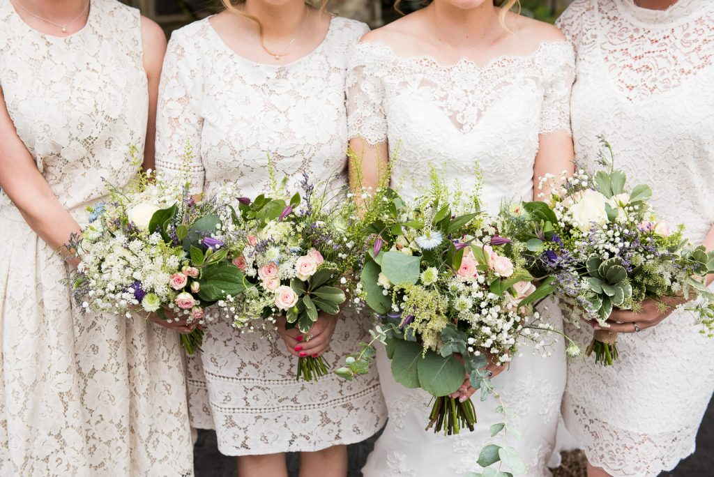 Eco Friendly Wedding, Matching Lace Bridesmaids Dresses with Wildflower Bouquets, Wedding Advice