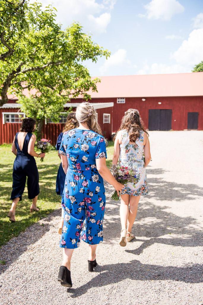 Swedish Wedding - Kroksta Gard Wedding - Bridesmaids Walk to The Ceremony