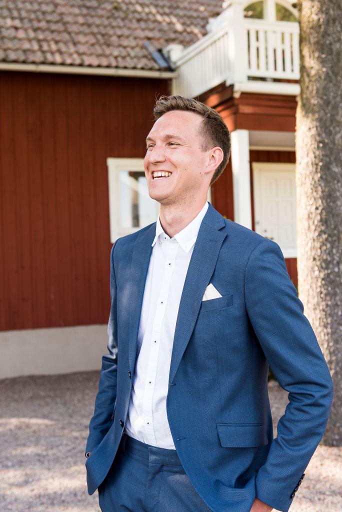 Swedish Wedding - Kroksta Gard Wedding - Natural and Candid Groom Portrait
