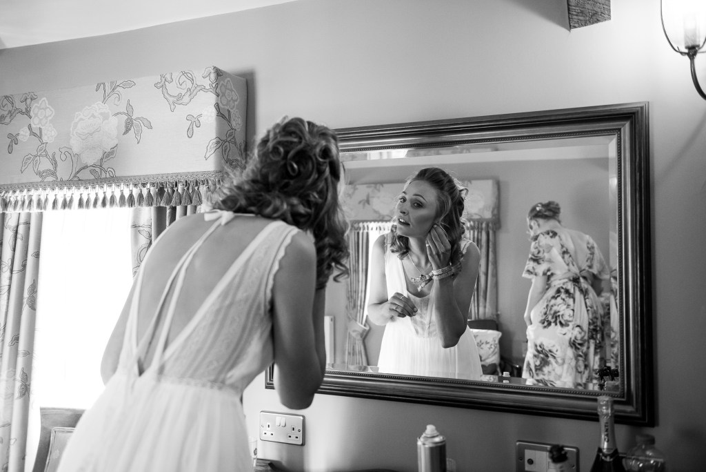 Inkersall Grange Farm Wedding - Same Sex Wedding Photography - Bride Putting The Final Touches Together